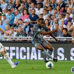 August 7, 2019 - Saint Paul, Minnesota, United States - Minnesota United midfielder Kevin Molino (7) dribbles the ball during the US Open Cup semifinal match against the Portland Timbers at Allianz Field.