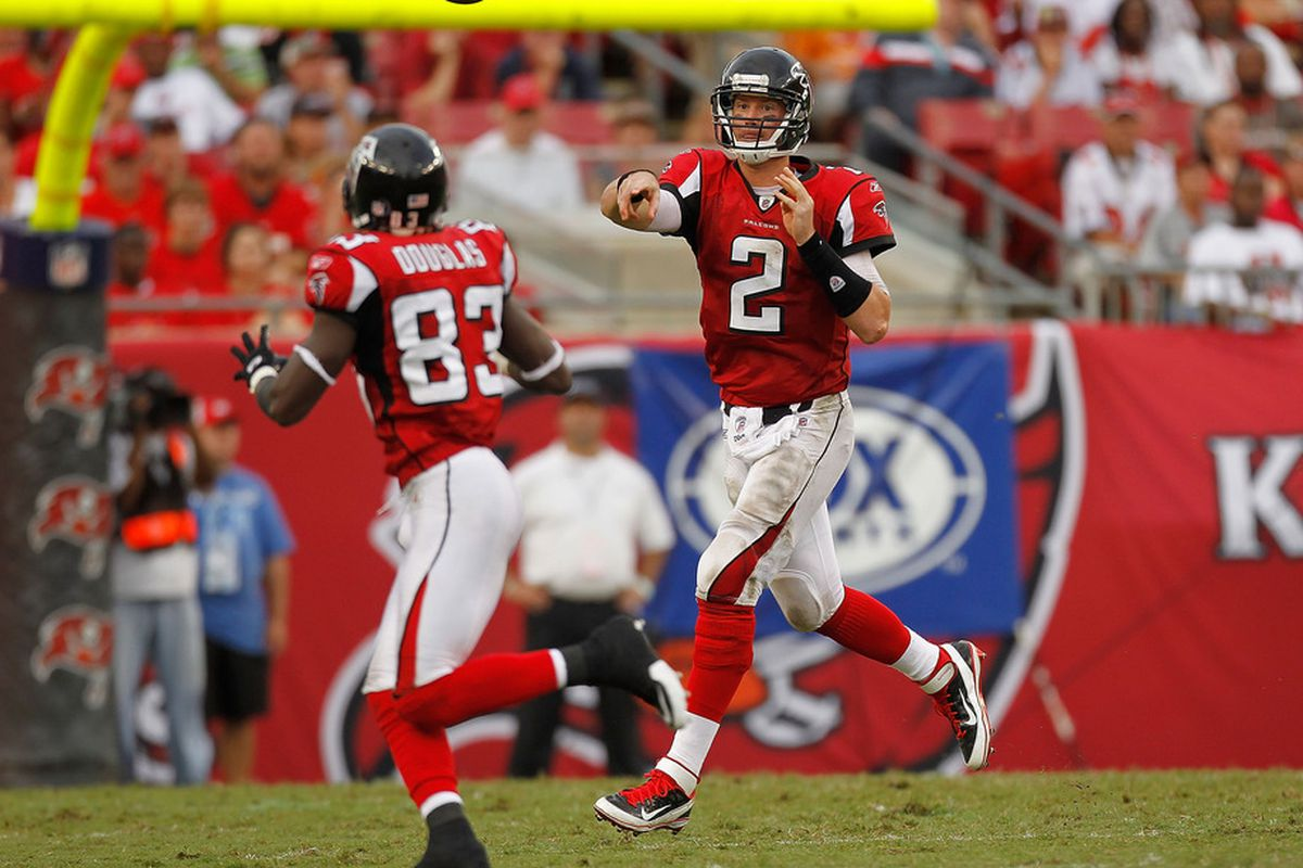TAMPA, FL - SEPTEMBER 25:  Matt Ryan #2 passes to  Harry Douglas #83 of the Atlanta Falcons during a game against the Tampa Bay Buccaneers at Raymond James Stadium on September 25, 2011 in Tampa, Florida.  (Photo by Mike Ehrmann/Getty Images)