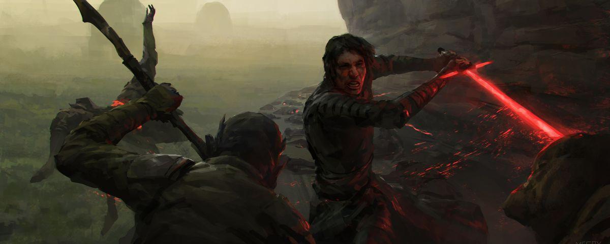 Kylo Ren tearing through creatures on a narrow ledge of a rocky cliff face.