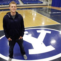 BYU basketball player Tyler Haws recently returned from an LDS mission and poses in Provo  Wednesday, April 25, 2012.
