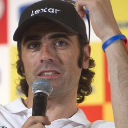 IndyCar driver Dario Franchitti, of Scotland, speaks during a news conference in Sao Paulo, Brazil, Friday, April 27, 2012. Brazil will host the 4th race of the IndyCar season on April 29.