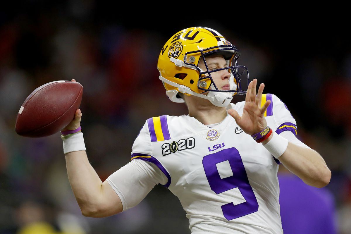 Joe Burrow of the LSU Tigers warms up prior to the College Football Playoff National Championship game against the Clemson Tigers at Mercedes Benz Superdome on January 13, 2020 in New Orleans, Louisiana.