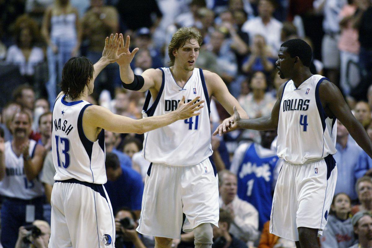 Steve Nash, Dirk Nowitzki, and Michael Finley