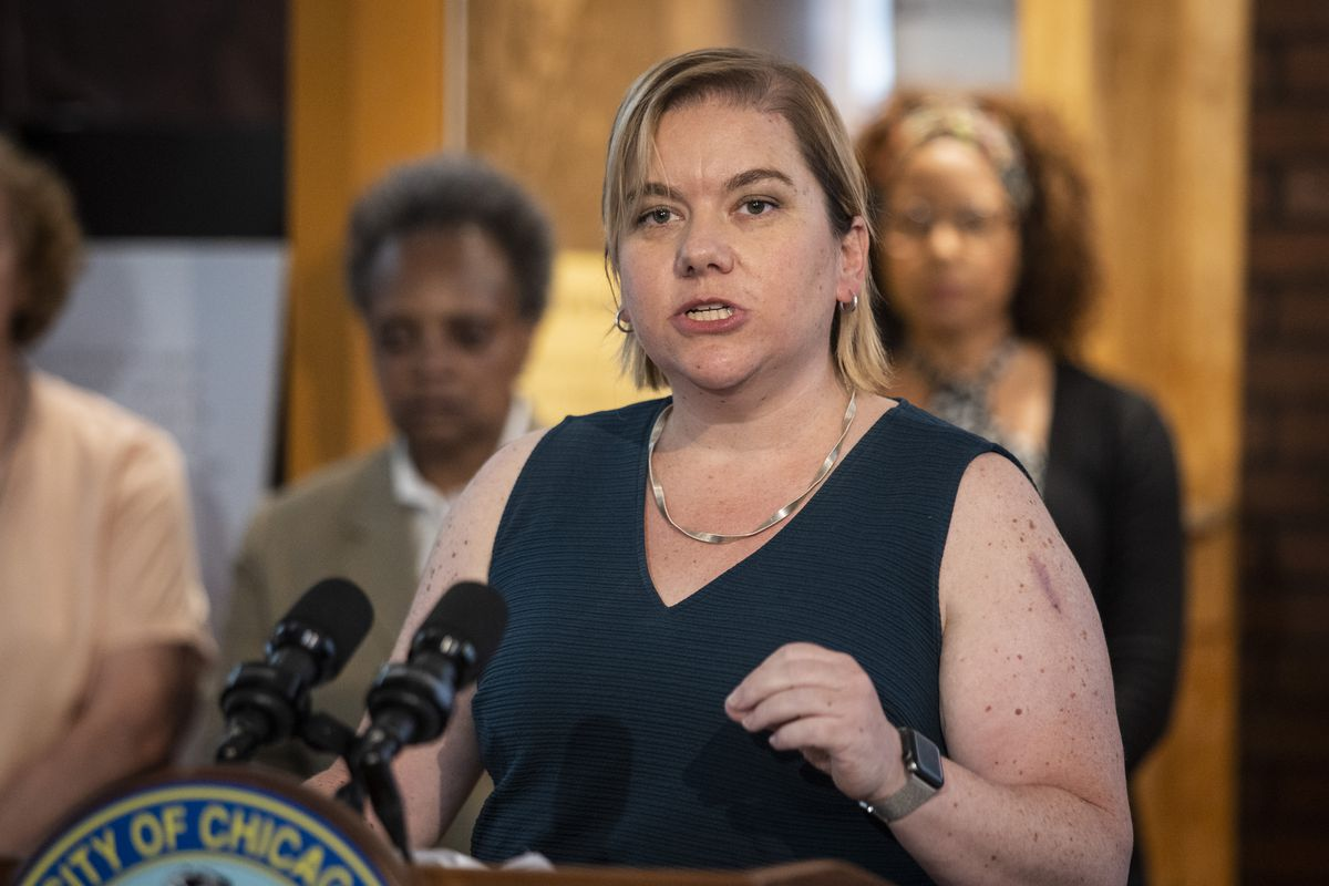 Dr. Allison Arwady, commissioner of the Chicago Department of Public Health, speaks during a news conference in June.