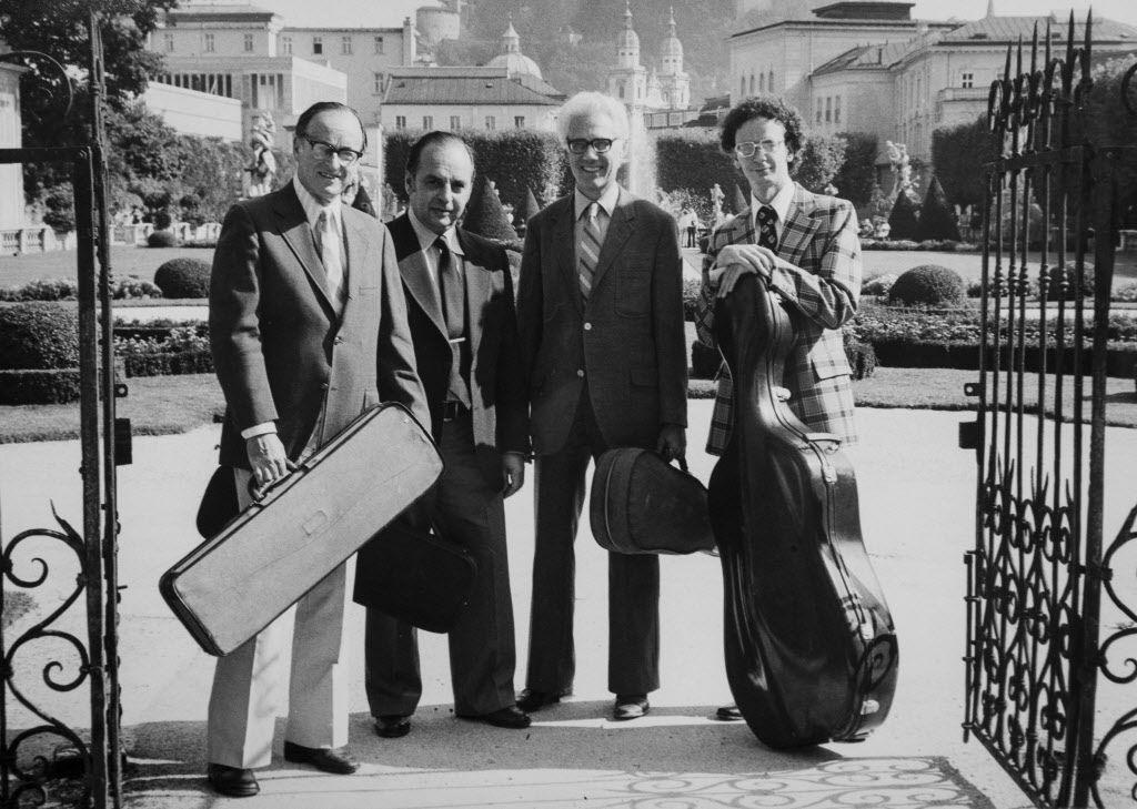 The LaSalle Quartet: Walter Levin, Henry Meyer, Jack Kirstein, Peter Kamnitzer in Salzburg in a publicity photo for the Salzburg International Music Festival 1976.