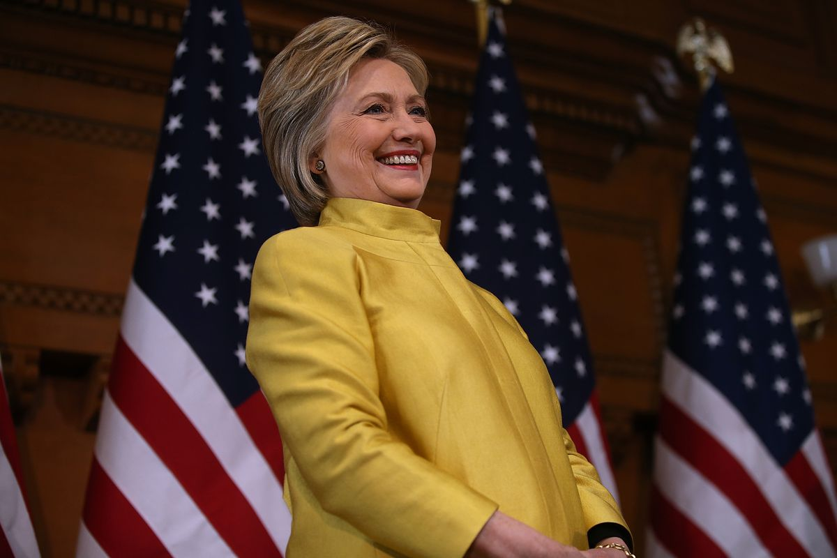 STANFORD, CA - MARCH 23: Democratic presidential candidate former Secretary of State Hillary Clinton delivers a counterterrorism address at Stanford University on March 23, 2016 in Stanford, California. A day after terror attacks left dozens people dead i