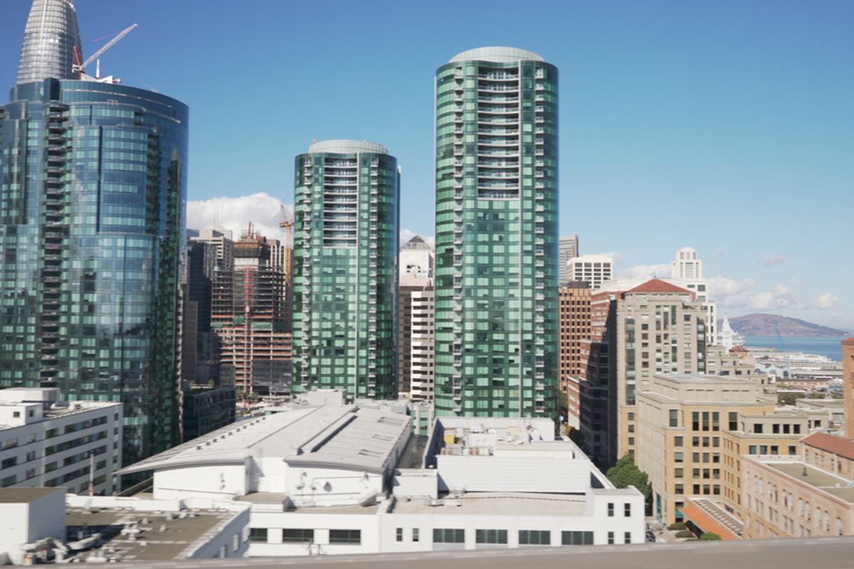 A photo of the twin Lumina towers in San Francisco.