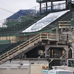 This photo shows that the stairs to upper center field no longer exist. Photo taken November 6, 2014 -
