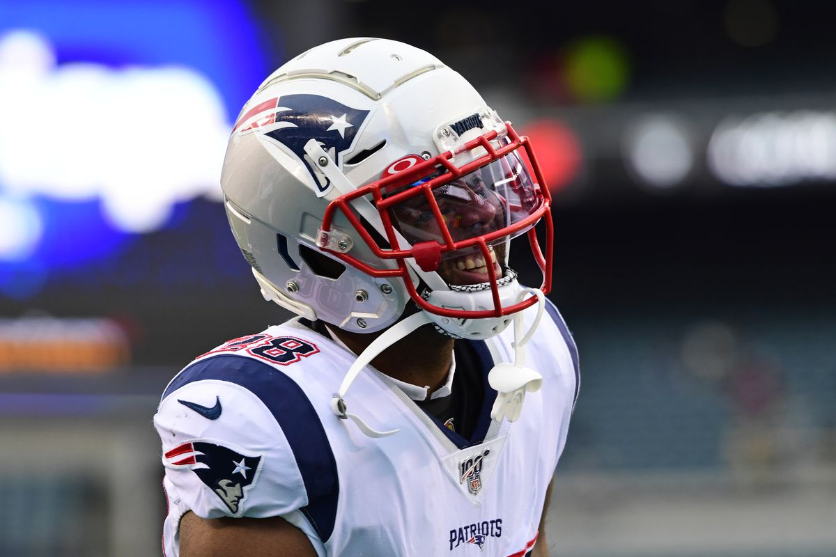 James White of the New England Patriots smiles before the game at Lincoln Financial Field on November 17, 2019 in Philadelphia, Pennsylvania.