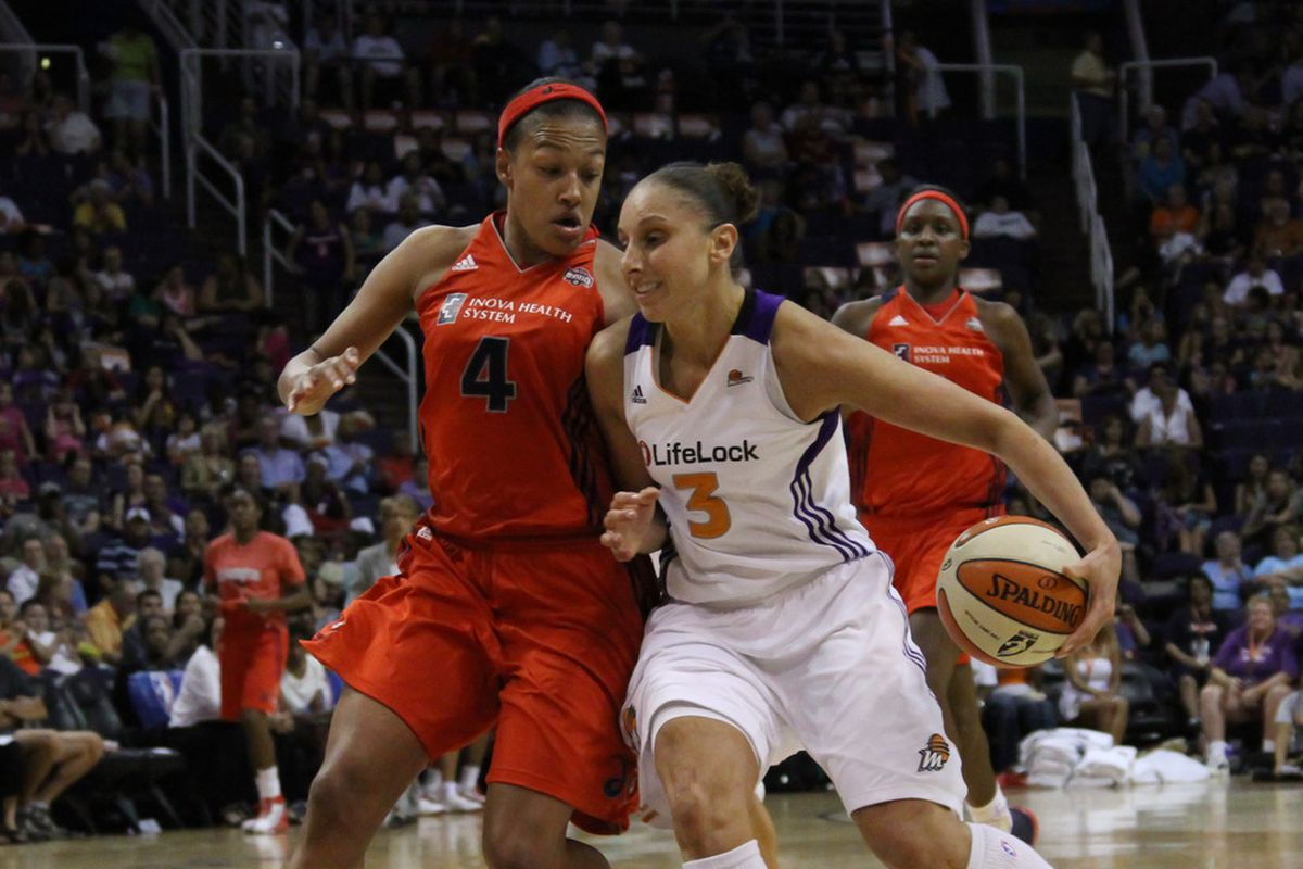 Phoenix Mercury star Diana Taurasi became the quickest WNBA player in history to reach 5,000 points, as Phoenix defeated the Washington Mystics, 78-65, July 15th at the U.S. Airways Center. (Photo by Ryan Malone)