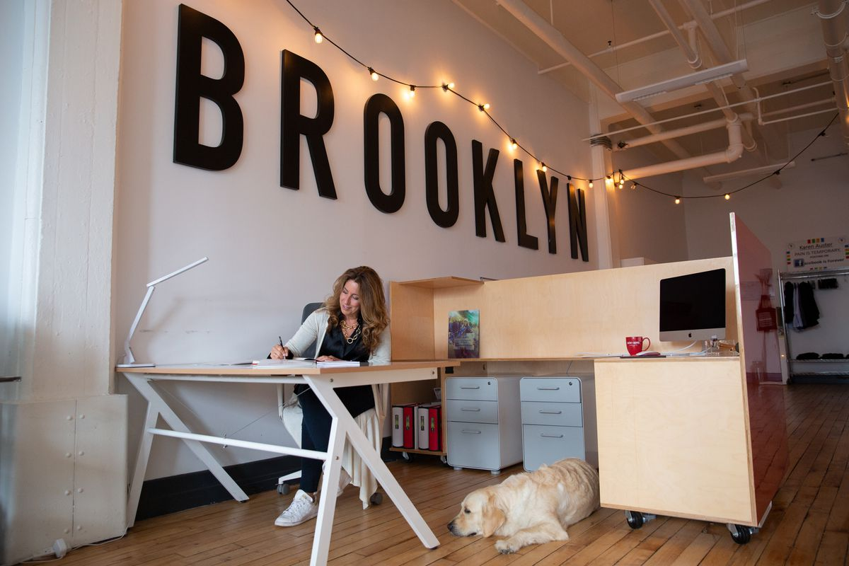 Experiential marketing agency owner Karen Auster works out of her empty DUMBO office during the coronavirus outbreak, Aug. 17, 2020.