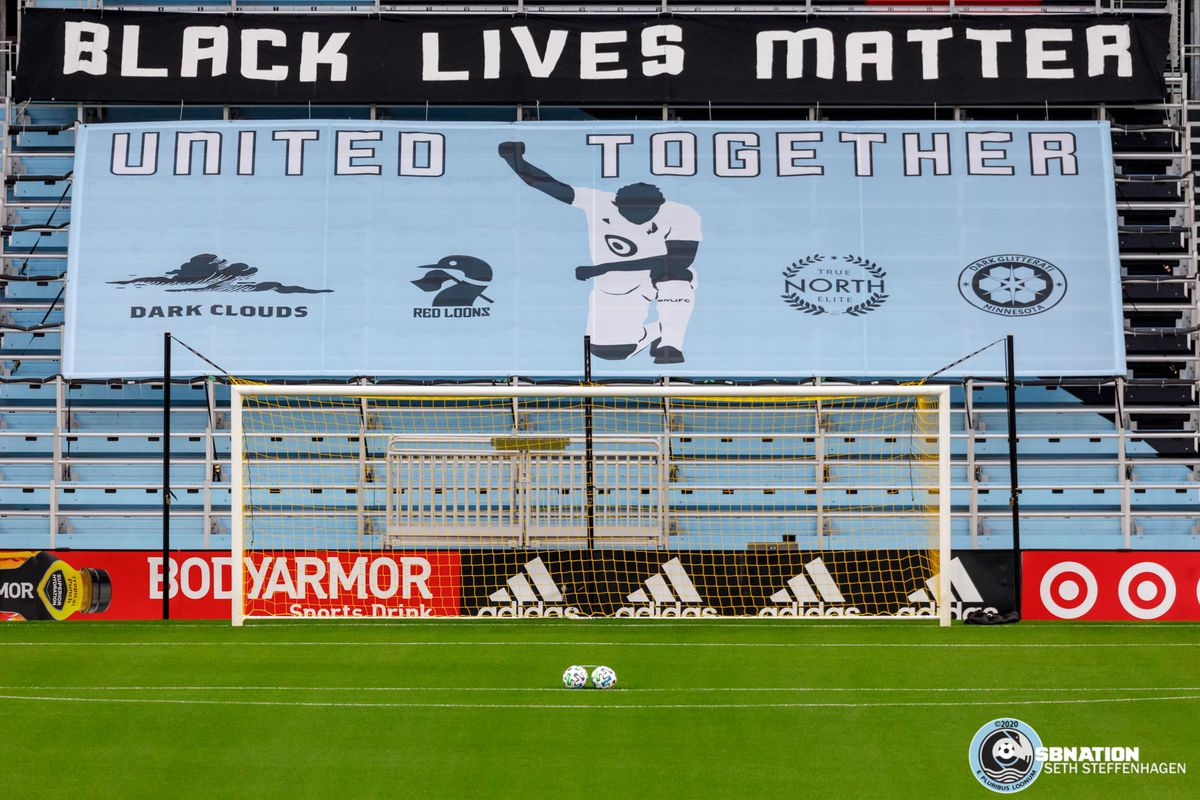 September 27, 2020 - Saint Paul, Minnesota, United States - A supporters tifo hangs in the Wonderwall during the Minnesota United vs Real Salt Lake match at Allianz Field.