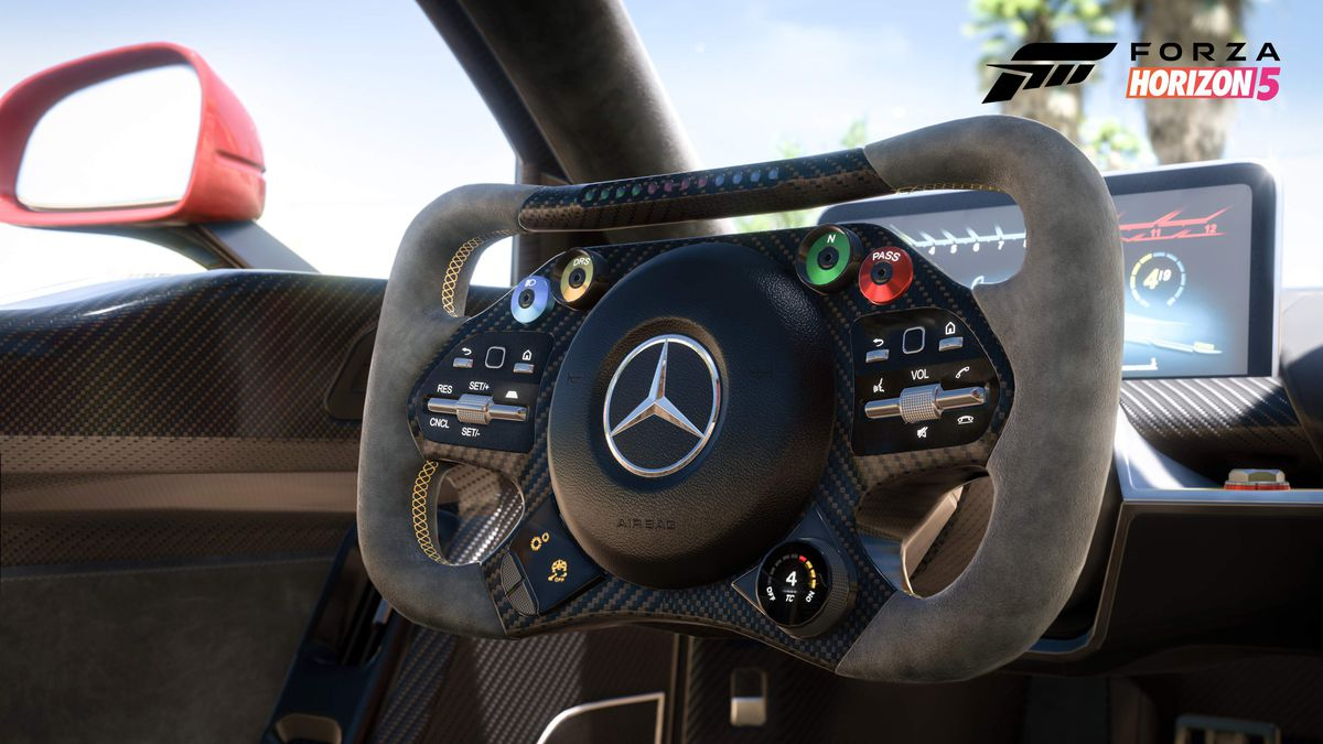 the futuristic interior of the Mercedes-AMG One, with a rectangular steering wheel and a tablet-shaped dashboard, in Forza Horizon 5