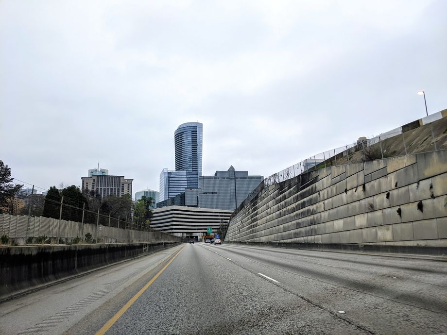 A photo of an empty highway.