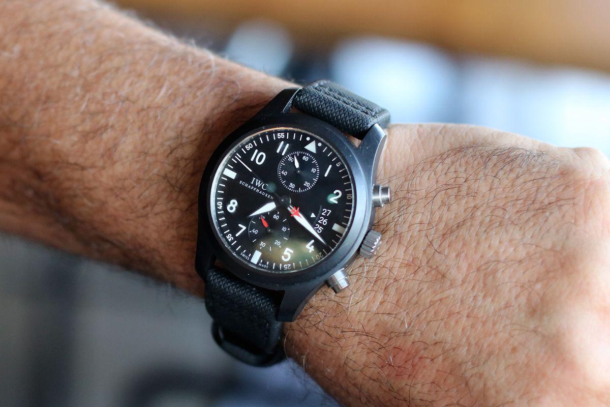 IWC Top Gun black ceramic chronograph on Josiah Citrin's wrist.
