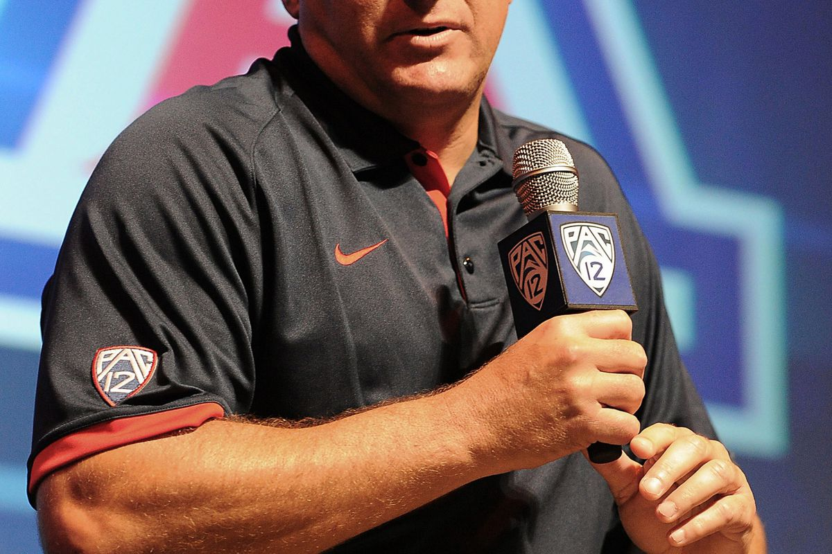 July 24, 2012; Los Angeles, CA, USA;    Arizona Wildcats head coach Rich Rodriguez answers media questions during PAC-12 Media Day at Universal Studios Hollywood. Mandatory Credit: Jayne Kamin-Oncea-US PRESSWIRE
