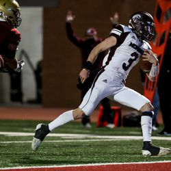 Morgan's Ryder Lish runs in for a touchdown, making the score 10-7 Juab, as the two teams compete in the 3A football championship game at Dixie State University in St. George on Saturday, Nov. 14, 2020.