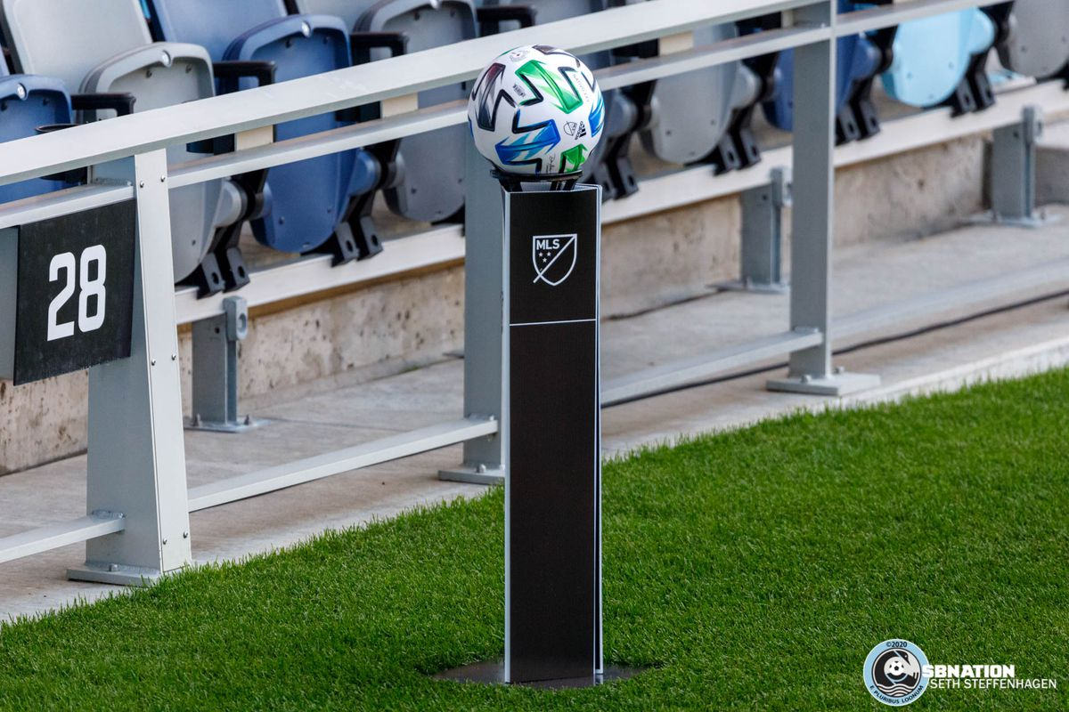 August 21, 2020 - Saint Paul, Minnesota, United States - In lieu of ball kids, match balls are placed on pedestals during the Minnesota United vs Sporting KC match at Allianz Field.