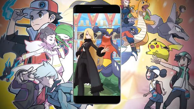 Cynthia and her Garchomp pose on a phone with the Pokémon Masters key art behind the phone