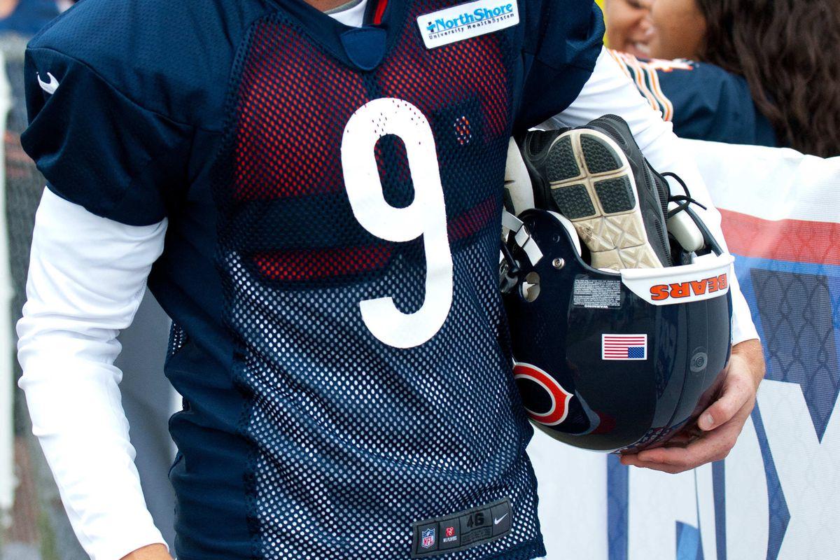 Jul 26, 2012; Bourbonnais, IL, USA; Chicago Bears place kicker Robbie Gould during the opening day of training camp at Olivet Nazarene University. Mandatory Credit: Bradley Leeb-US PRESSWIRE