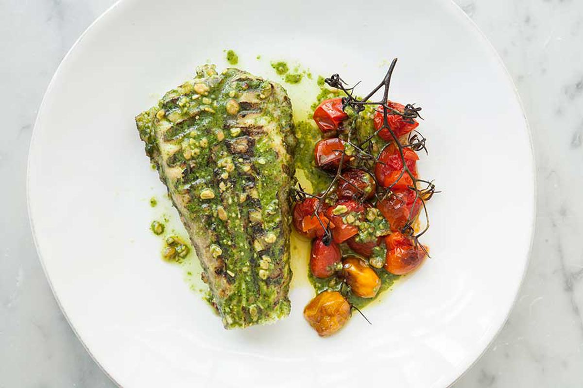 Monkfish with pesto and tomatoes at Church Road in Barnes