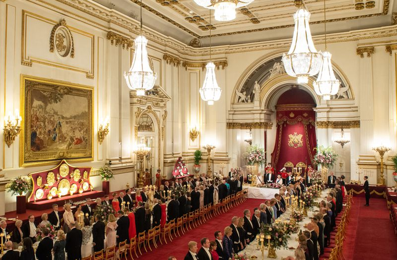 Queen Elizabeth II hosts President Donald Trump, First Lady Melania Trump, and 170 other guests for a state banquet in the opulent ballroom at Buckingham Palace on June 3, 2019.
