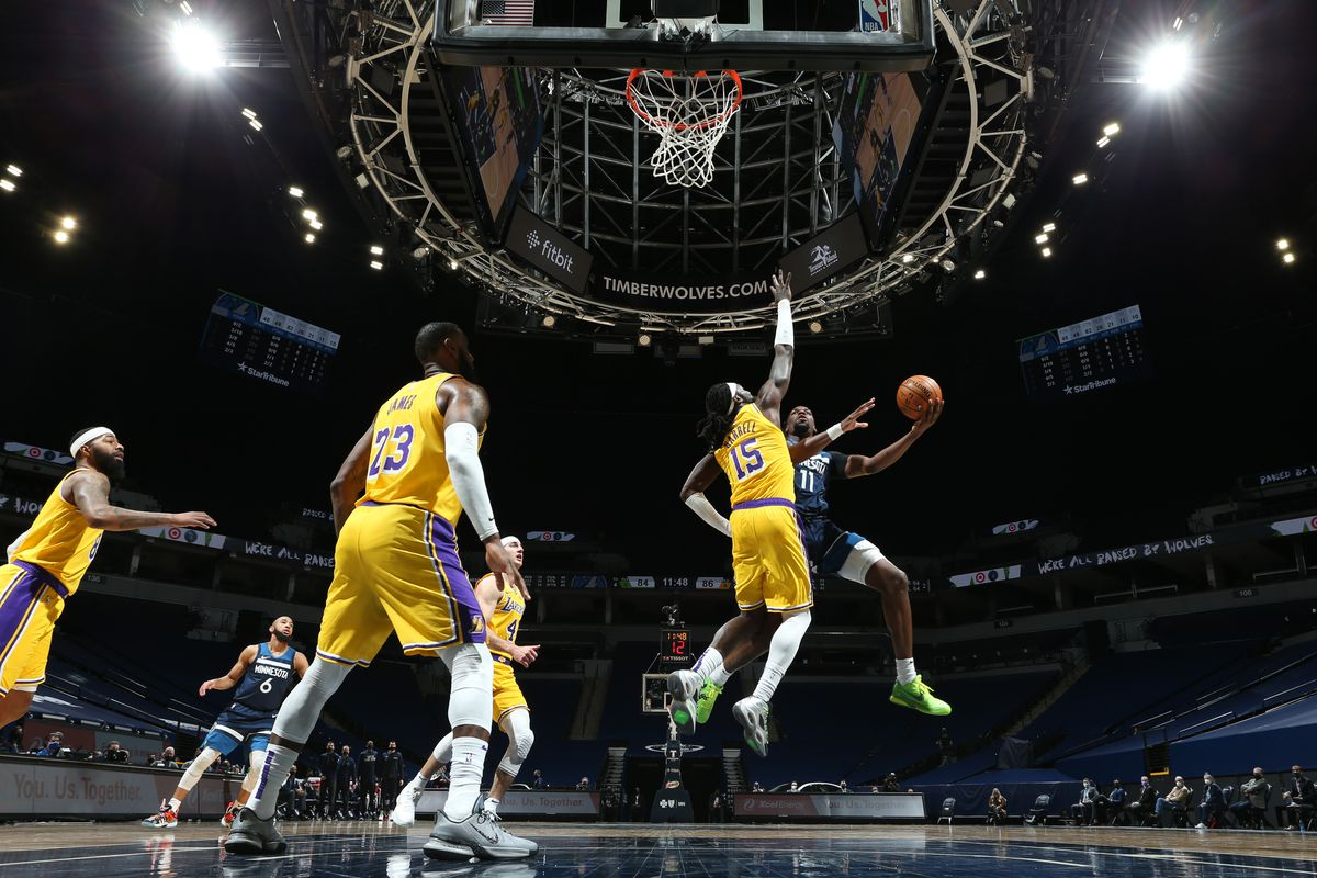 Naz Reid #11 of the Minnesota Timberwolves shoots the ball during the game against the Los Angeles Lakers on February 16, 2021 at Target Center in Minneapolis, Minnesota.