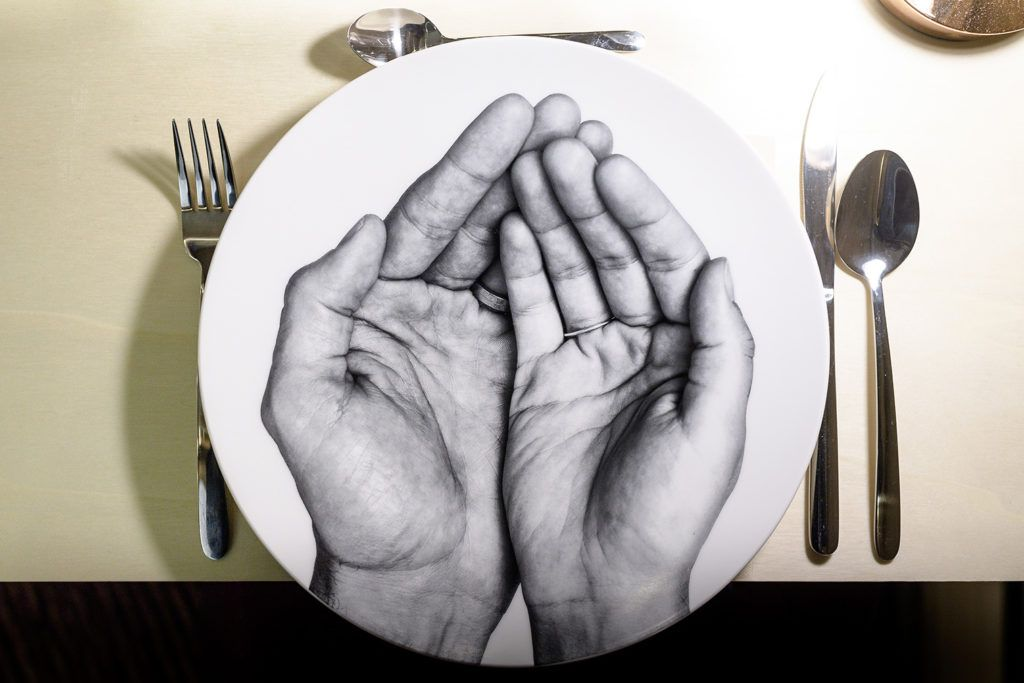 Dinner plate with painted hands