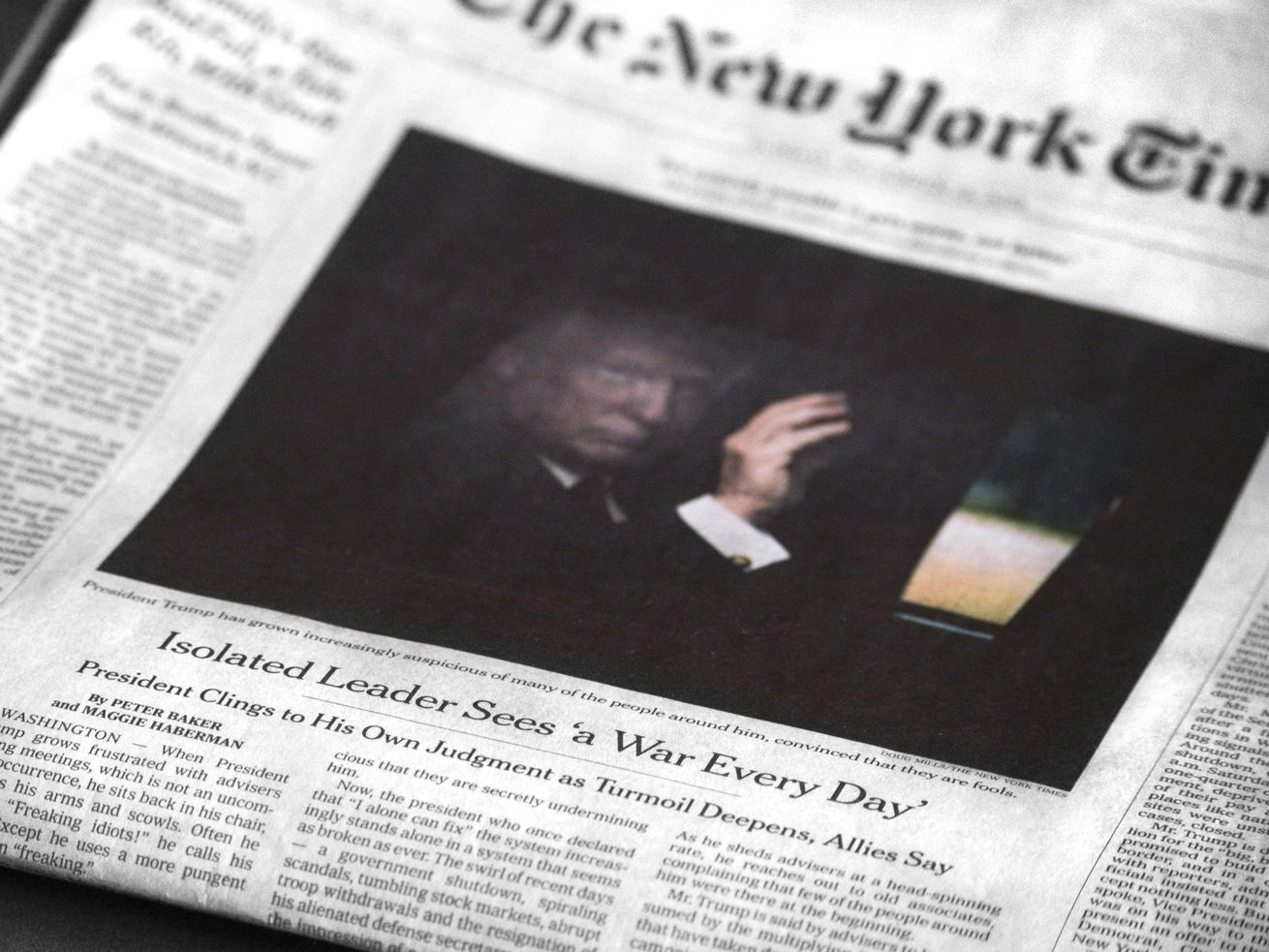 A copy of the December 23, 2018, edition of the New York Times shows a picture of President Trump.