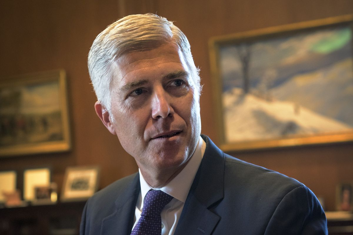Supreme Court Justice Neil Gorsuch in his chambers in Washington, DC.
