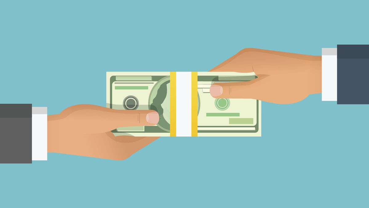 Human hand giving money to other hand. Holding banknotes. Isolated on blue background. Vector illustration.