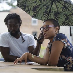 "Co-founders of Culture Chicago, Raji ""The One"", left, and Aamina Lovie, right, discuss what motivated them to help their local communites near the alt_ Market in Grand Crossing, Wednesday, July 15, 2020. 