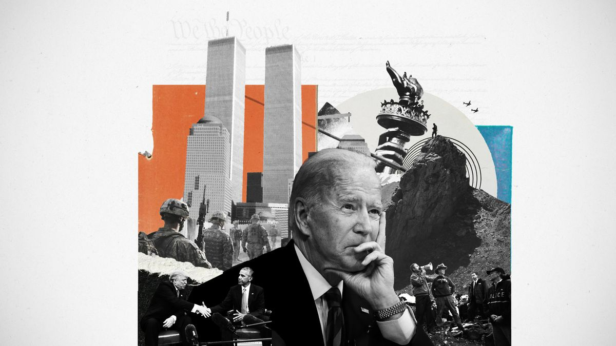 A photo illustration of Joe Biden, the Twin Towers, and symbols of the war on terror.