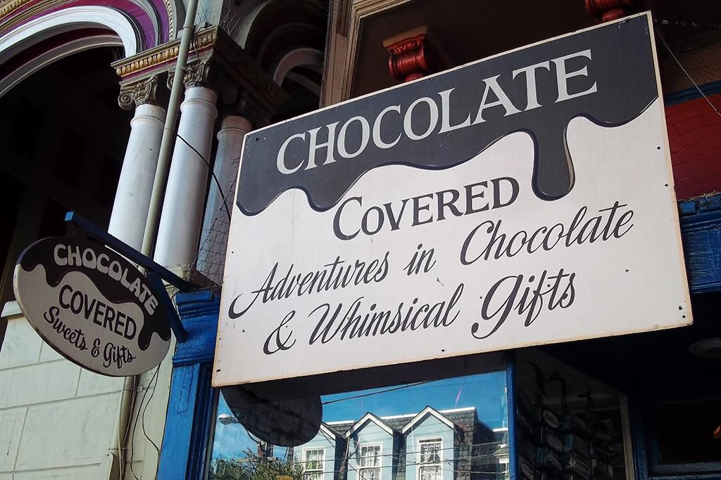 Front sign at Chocolate Covered