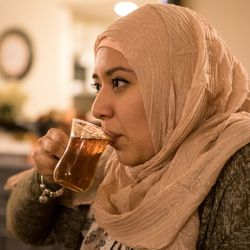 Jessica Salgado drinks a Middle Eastern tea on June 5, 2018 in Orland Park, IL following a Ramadan meal. Salgado is Mexican and converted from Catholicism to Islam in 2017. I Maria de la Guardia/Sun-Times