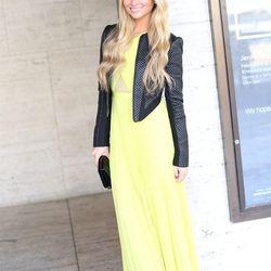 "Sophie of <a href=""http://angelfoodstyle.com""target=""_blank"">Angel Food Style</a> is wearing a BCBGMAXAZRIA <a href=""http://www.bcbg.com/Caia-Chiffon-Pleated-Gown/IQI6Z035-B3A,default,pd.html?dwvar_IQI6Z035-B3A_color=B3A&cgid=dresses#prefn1=colorRefinemen"