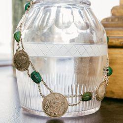 "Victorian Scarab and Brazilian Coin Necklace, <a href=""http://eriebasin.com/a_brazilscarabs0114.html"">$725</a>"