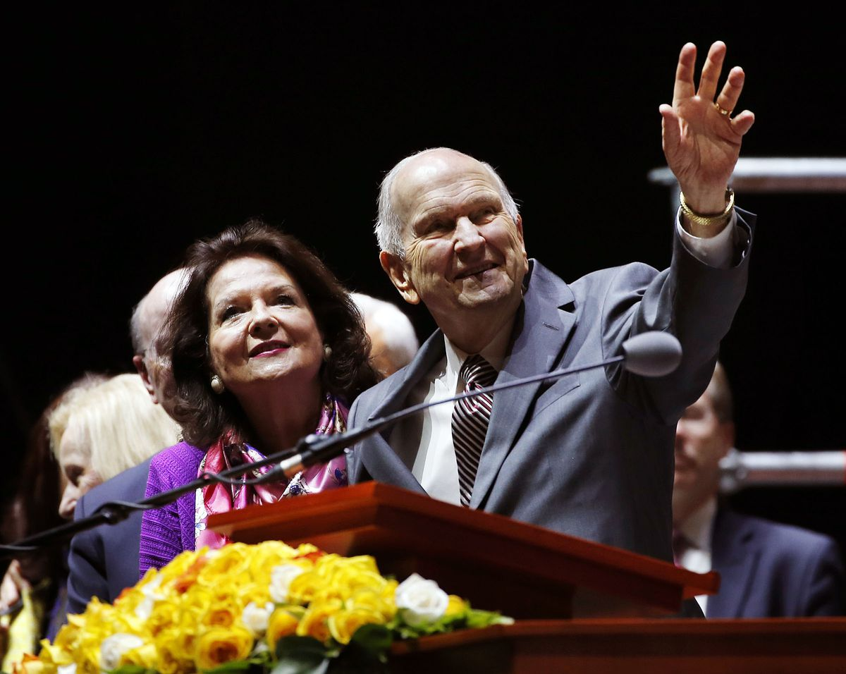 President Russell M. Nelson of The Church of Jesus Christ of Latter-day Saints and his wife Sister Wendy Nelson say goodbye at the conclusion of a Latin America Ministry Tour devotional in Bogota, Colombia on Sunday, Aug. 25, 2019.