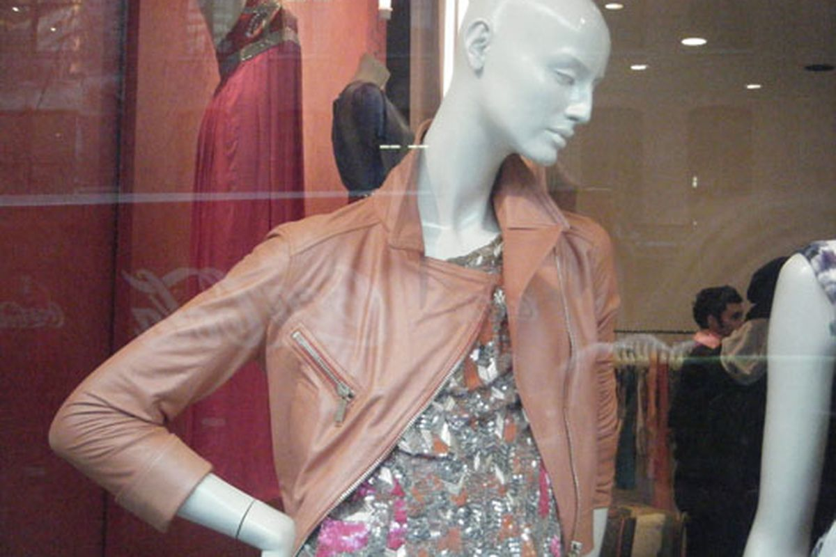 Cheer up, Matthew Williamson mannequin. How can you be sad in a pink leather jacket?