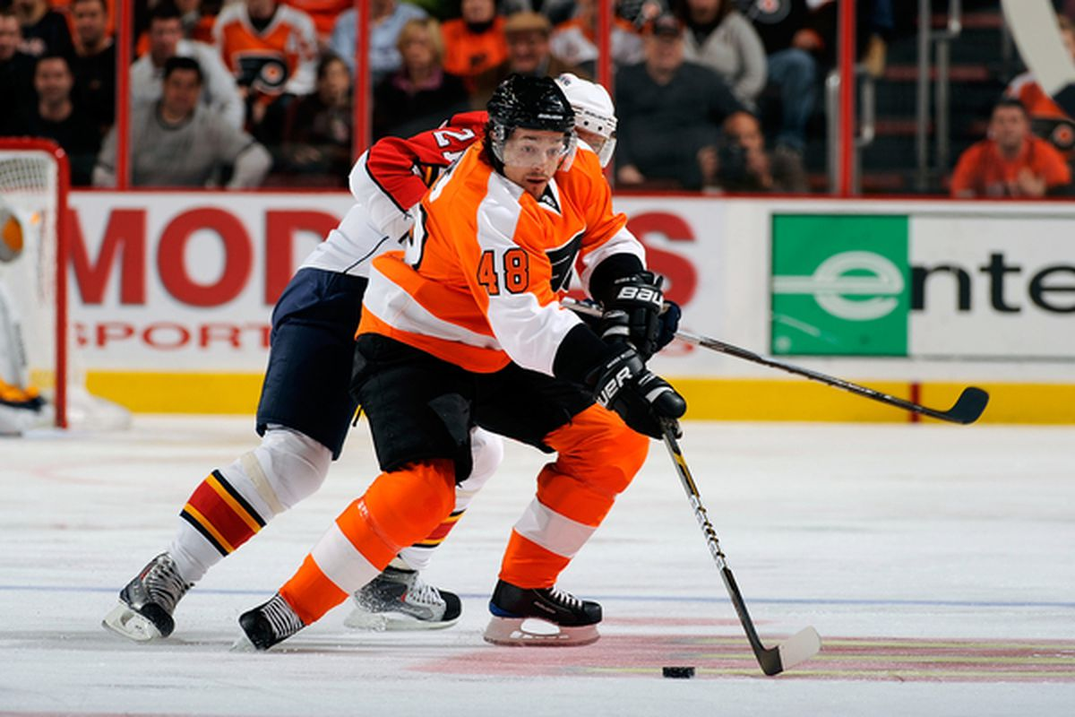 PHILADELPHIA - NOVEMBER 13:  Danny Briere #48 of the Philadelphia Flyers skates with the puck against the Florida Panthers on November 13 2010 at the Wells Fargo Center in Philadelphia Pennsylvania.  (Photo by Lou Capozzola/Getty Images)