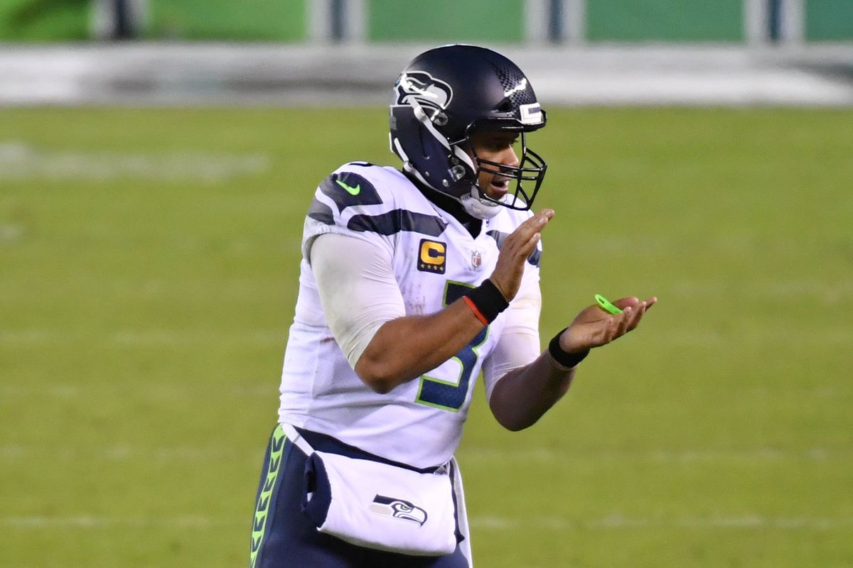 Seattle Seahawks quarterback Russell Wilson (3) during the fourth quarter against the Philadelphia Eagles at Lincoln Financial Field.