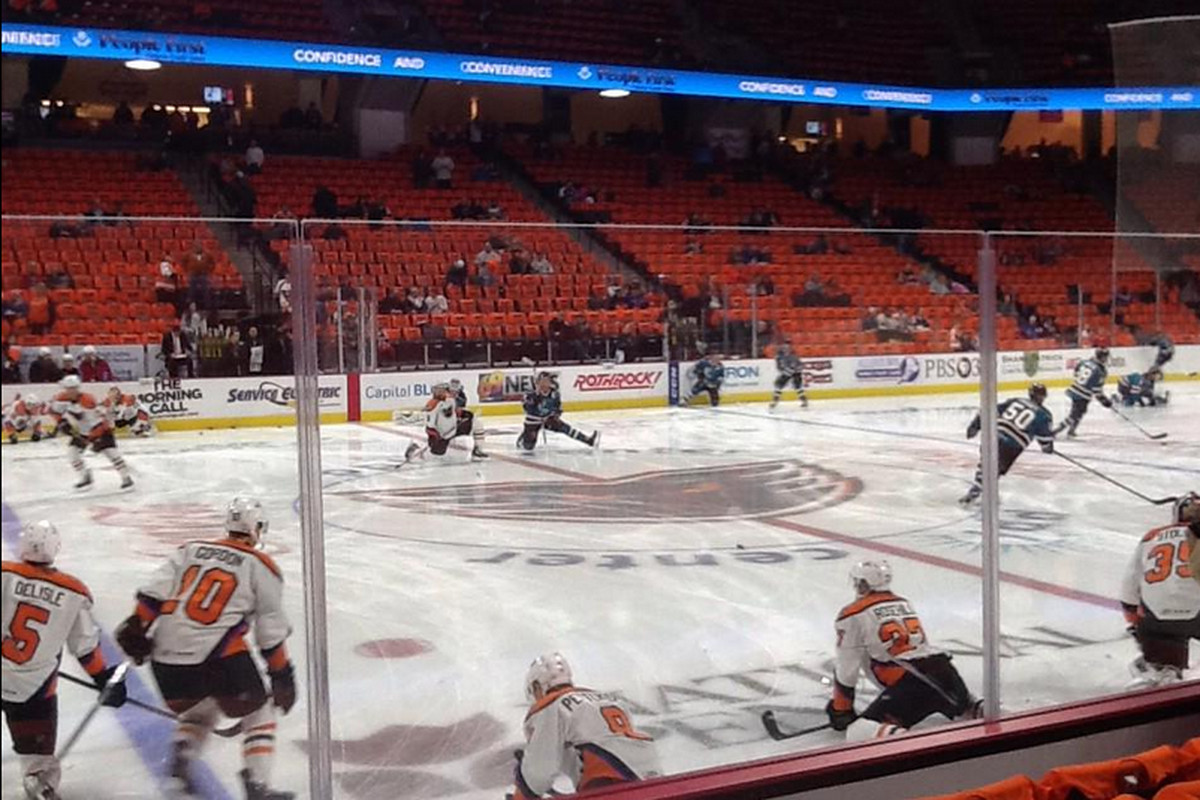 The Worcester Sharks and Lehigh Valley Phantoms during warm ups Friday night at the PPL Center (www.twitter.com/TonyAndrock_TCG).