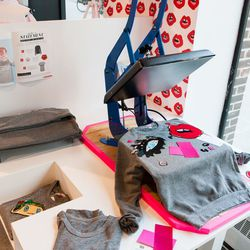 Bow and Drape's customized tee-shirt station
