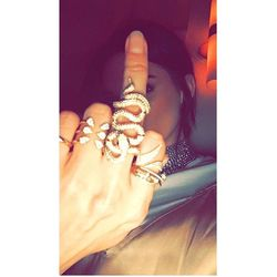 Kendall showing off her jewels on Gigi's snapchat.
