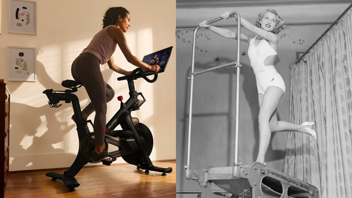 A woman riding a Peloton exercise bike and an archival photo of a woman on a treadmill.