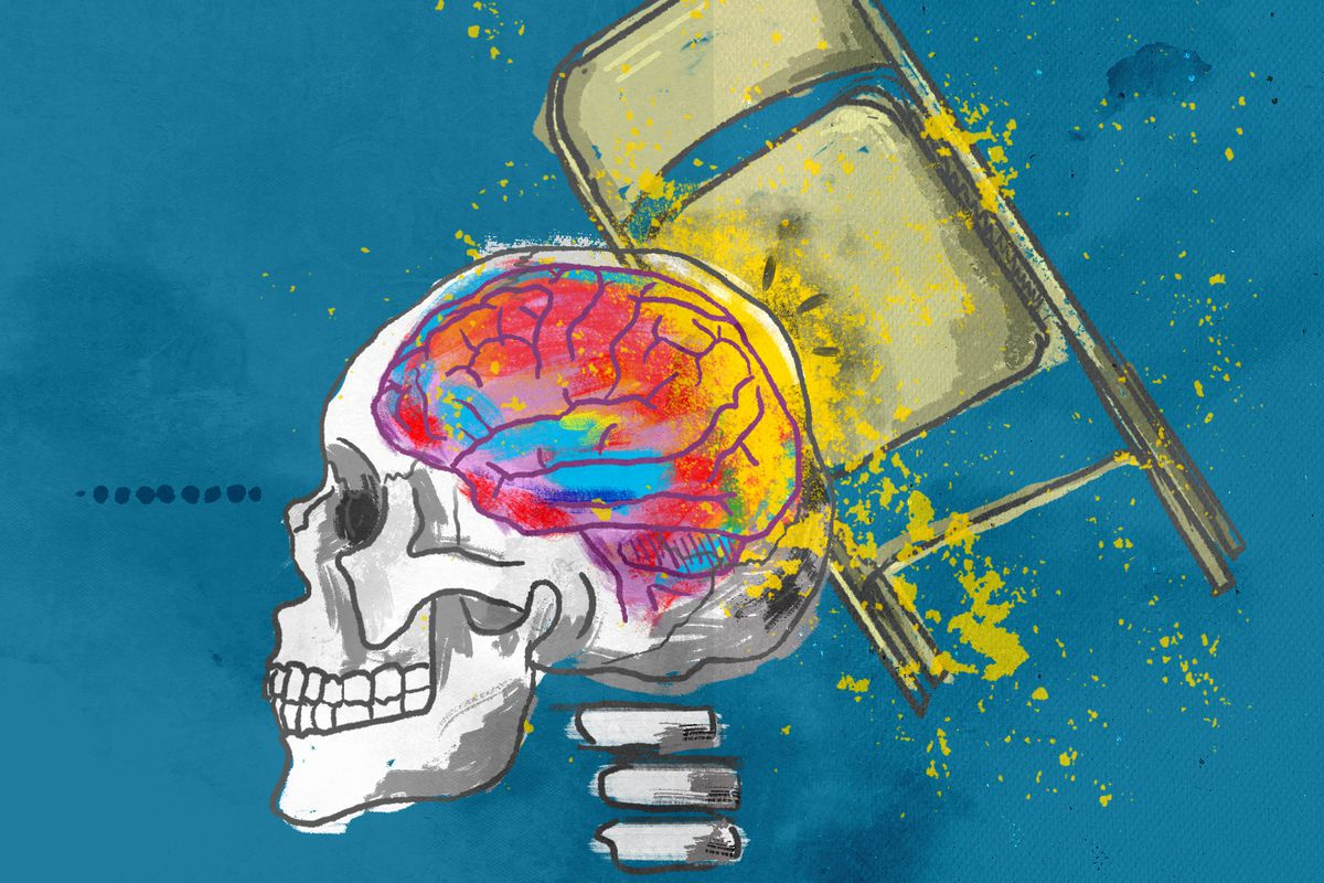 An illustration of a metal folding chair hitting a human skull that shows a brain inside.