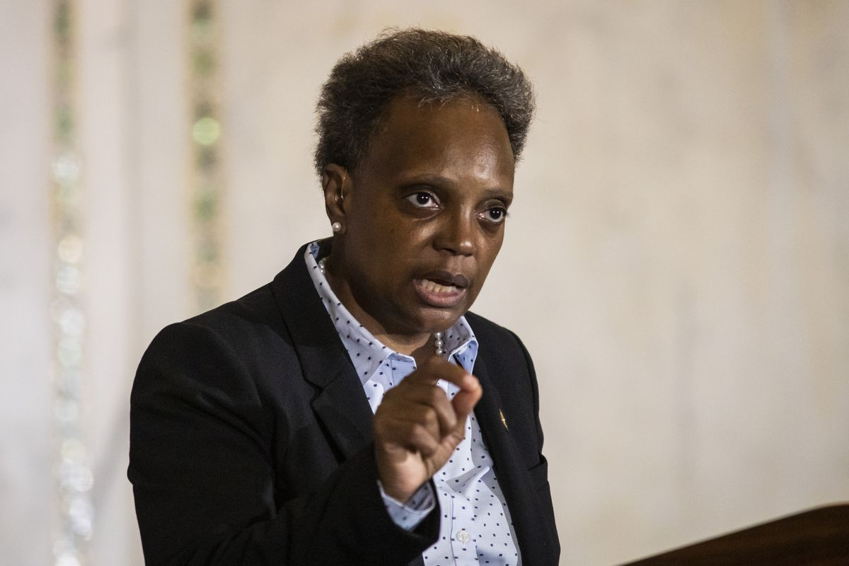 Mayor Lori Lightfoot delivers the city's budget forecast Wednesday.