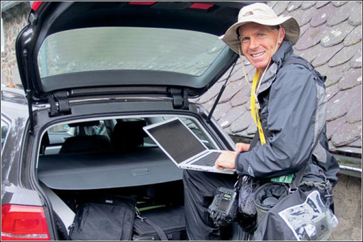 Mark Johnson with the tools of the trade (photo courtesy Joel Westwood/Velopress)