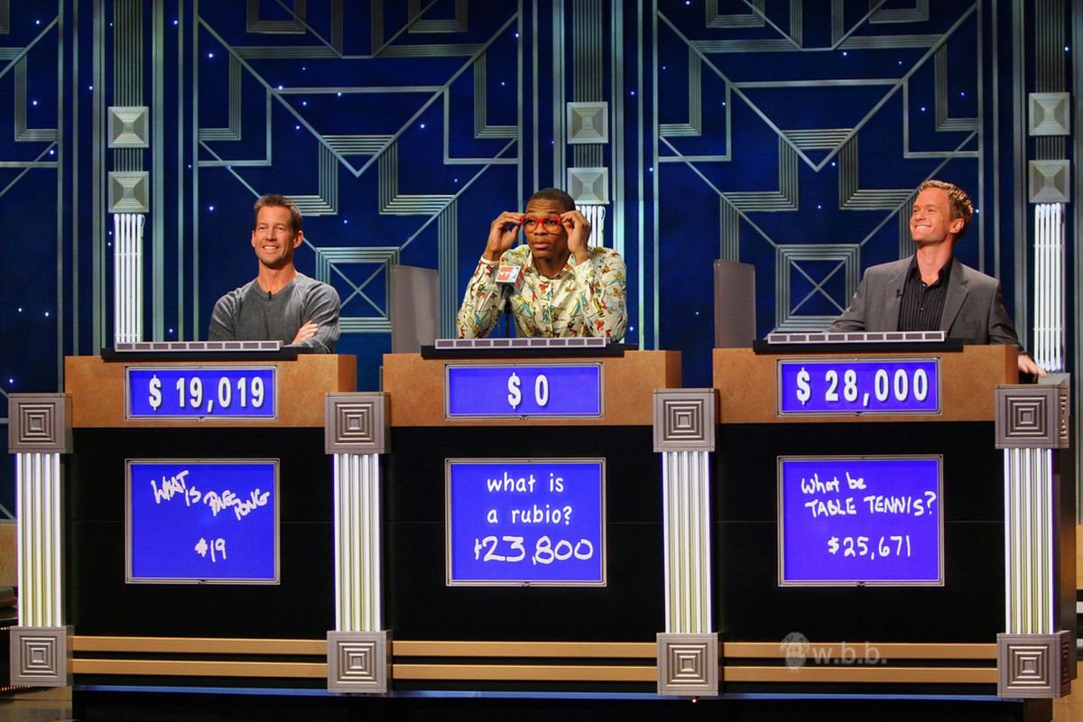 Neil Patrick Harris may have won this Jeopardy round, but Westbrook knows his Rubio.