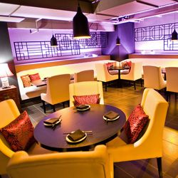 purple backlights add a chic feel to the place.